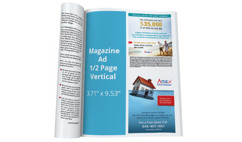 Magazine - half page verticle ad