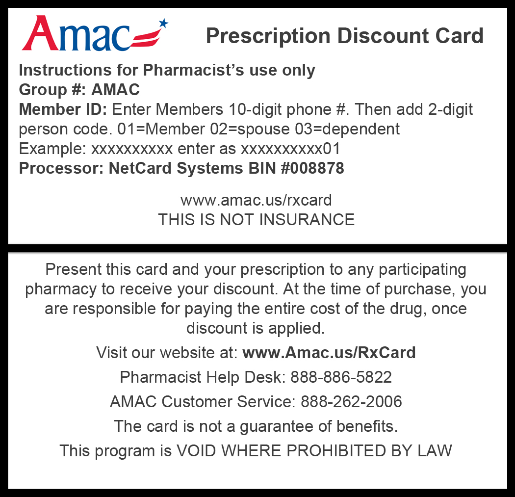 photograph regarding Printable Insurance Cards titled Print Your Rx Card - AMAC - The Affiliation of Increase