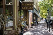Exterior views of Moravian Book Store.