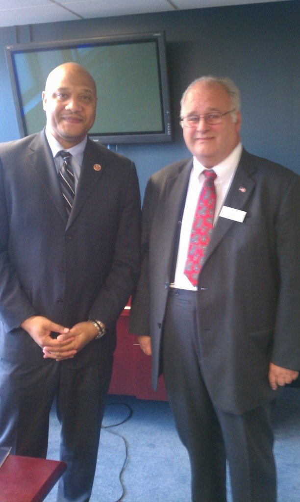 Caption: AMAC Delegate Eugene Baker (IN-7) meets with Congressman Andre` Carson