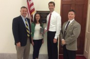 AMAC's Andy Mangione (far left), Caroline Rayburn (center left), and Connor Martin (far right) pictured with Rep. Tom Cotton (center right).