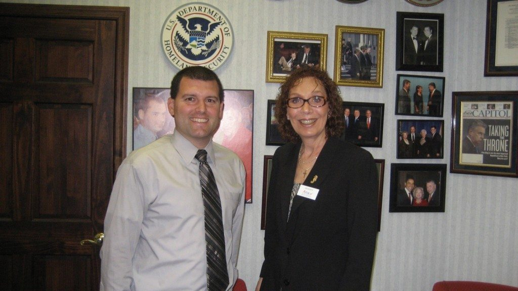 AMAC Delegate Earliene Shipper visits with District Representative Kevin DeLury in Congressman Peter King's district office.