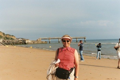 Donna Coulson, Leland, NC, on Omaha Beach a short distance from her father's landing point on D-Day 1944.