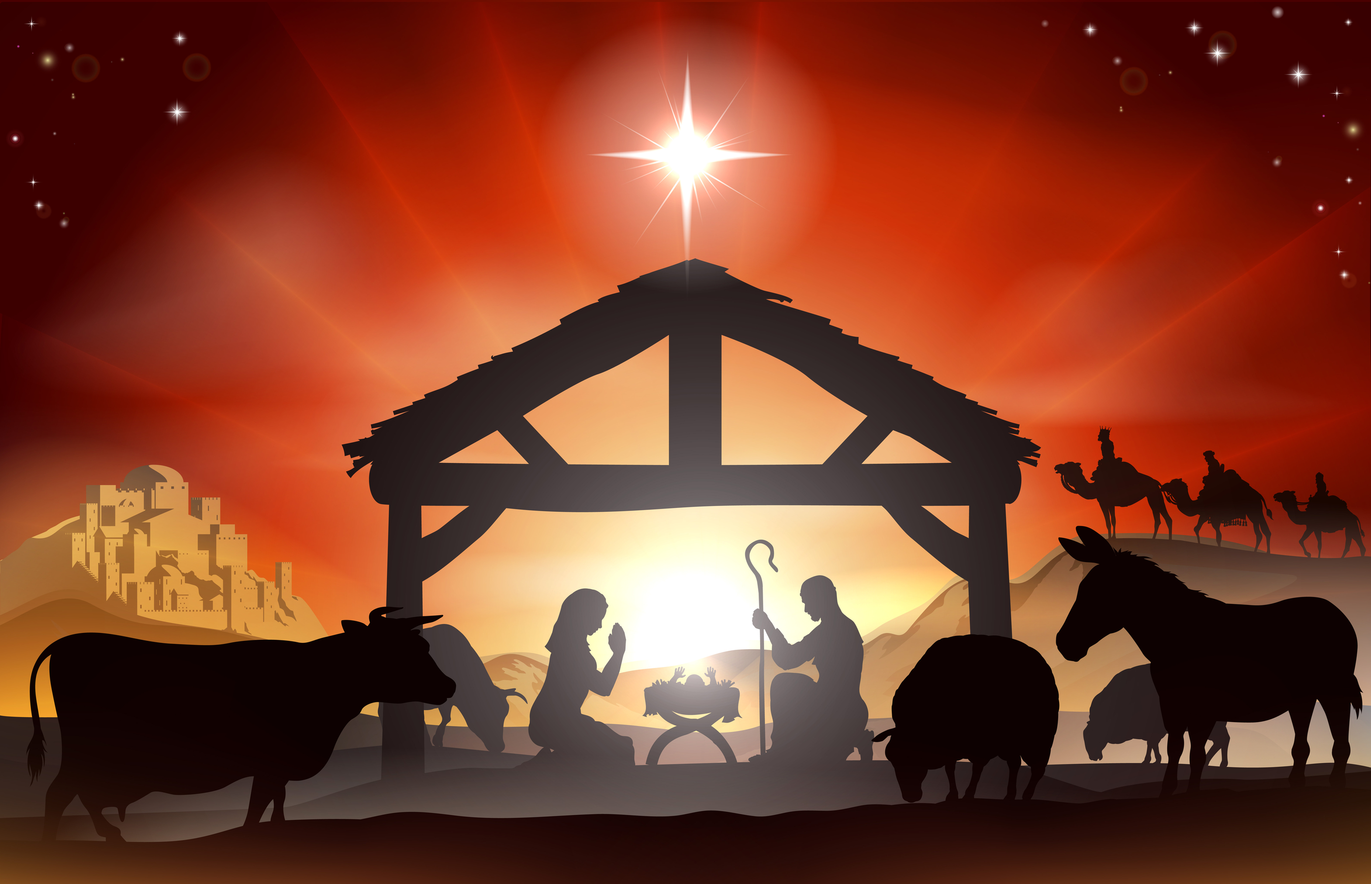It's just a graphic of Witty Nativity Christmas Images