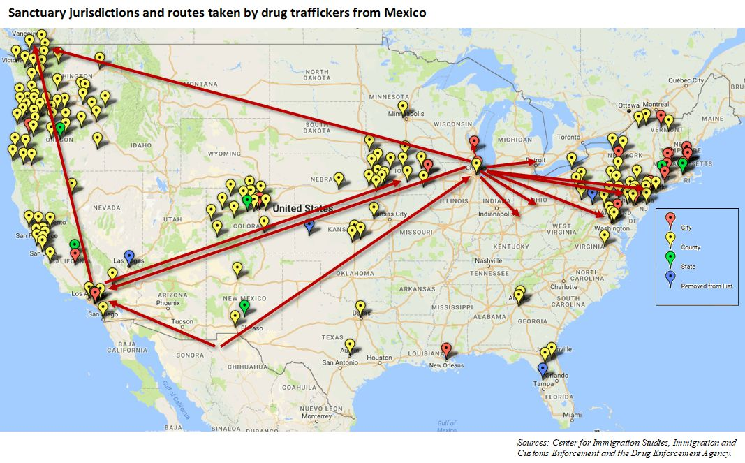 Why Are Sanctuary Cities Helping Mexican Heroin Cartels AMAC - Map of us sanctuary cities