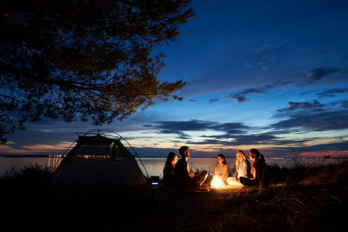 Night summer camping on shore. Group of young tourists ...